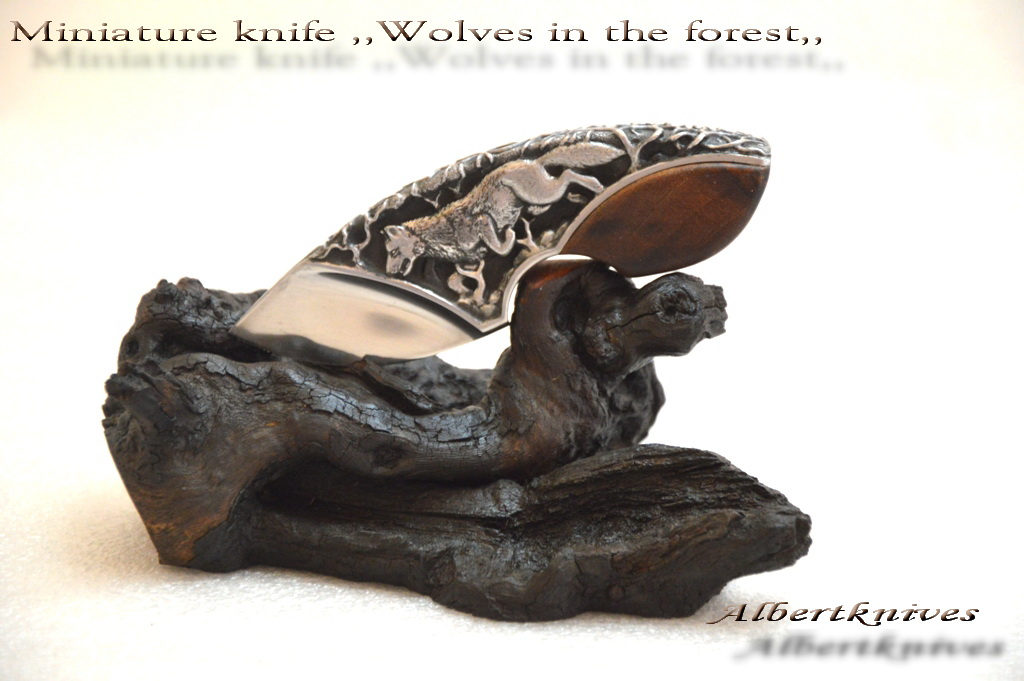 Miniature knife ,, wolf in the forest ,, 002